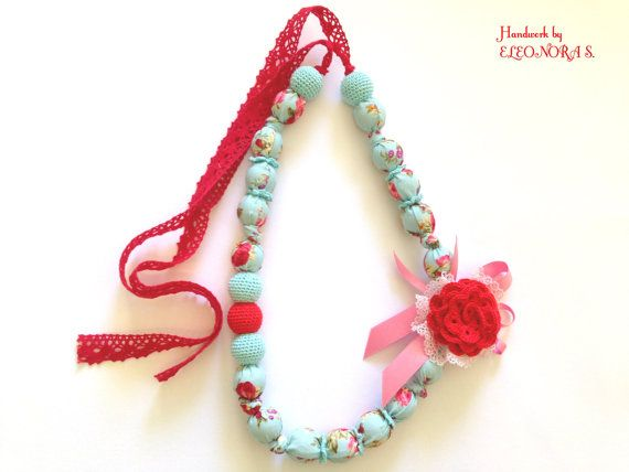READY TO SHIP / Fabric crochet necklace / by ILoveAmigurumi