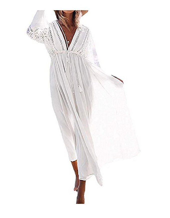 d49e719bb0 NFASHIONSO Women's Rayon Lace Swimsuit Cover up Tunic Long Maxi Dress, White  at Amazon Women's Clothing store: