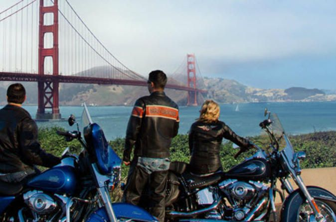 Harley-Davidson Rental in San Francisco Power a Harley-Davidson rental through San Francisco and beyond. On your self-guided tour, jet up to the forests of Yosemite, traverse the headlands of the Golden Gate or zip down to the coastline of Monterey. Bring your motorcycle license and you can take your favorite model for a joyride over the Golden Gate Bridge, or log serious miles and drive until you spy the Hollywood sign.Forget the car and embrace life on the road with two whee...