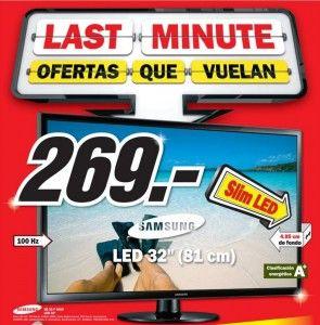 TV Samsung Led 32 púlgadas y pantalla plana por sólo 269 euros en Media Markt ¡Más barato imposible! Entérate en el siguiente enlace: http://televisores.offertazo.com/tv-samsung-oferta-media-markt/