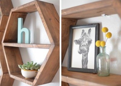 Hexagonal shelves in a modern nursery | Blending Beautiful