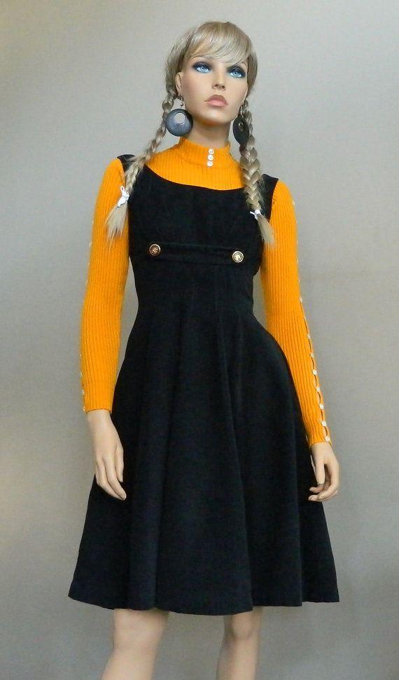 60s Mod Pinafore Jumper Dress Schoolgirl Dress Square Neckline Fitted Waist Flirty A-Line Black ...