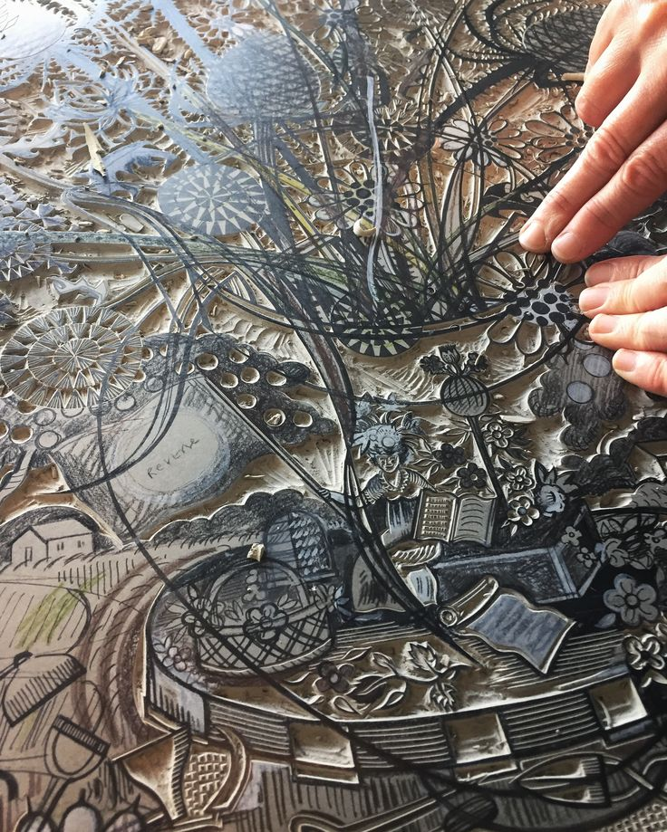 Angie Lewin working on a new linocut, hopefully to appear at St Jude's In The City, an exhibition at The Bankside Gallery in London from 23rd November until 4th December 2016 http://www.angielewin.co.uk/collections/st-judes-in-the-city-november-2016