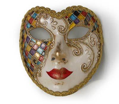 Arlecchino volto V33 - Maschera  originale veneziana realizzata interamente a mano, in cartapesta e decorata con colori acrili e glitter.