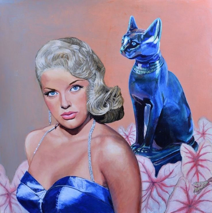 Original Painting on Canvas retro glamour Hollywood cat Wall Art Jane Ianniello