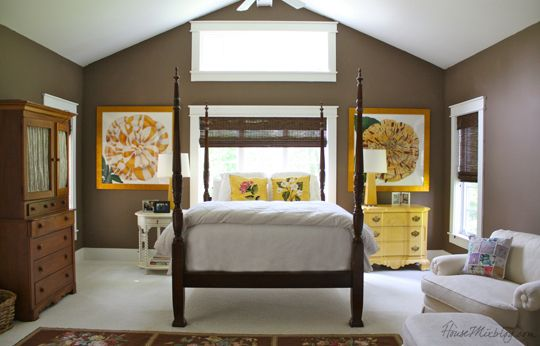 Chocolate brown walls in master bedroom with cream and yellow accents house mix decor diy Master bedroom with yellow walls