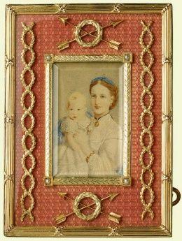 Рамка с фотографией королевы Александры, когда Принцесса Уэльская, ее сын Принц Альберт Виктор