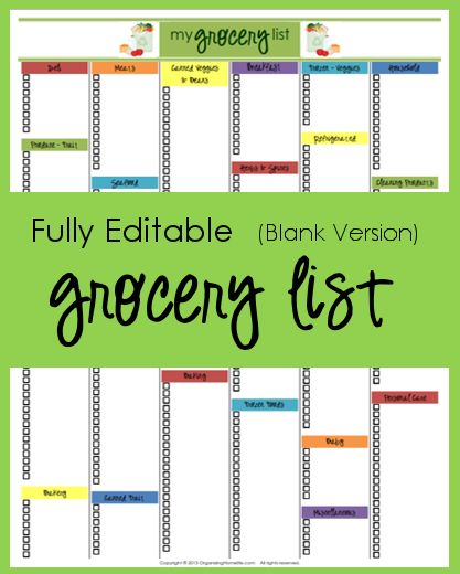 Editable Shopping List Template 10 Easy To Edit Classic Resume