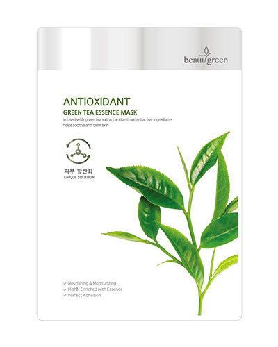 Green Tea Essence Mask High Soothing  Anti Oxidation Purifying Damaged Skin 10EA #BeauuGreen