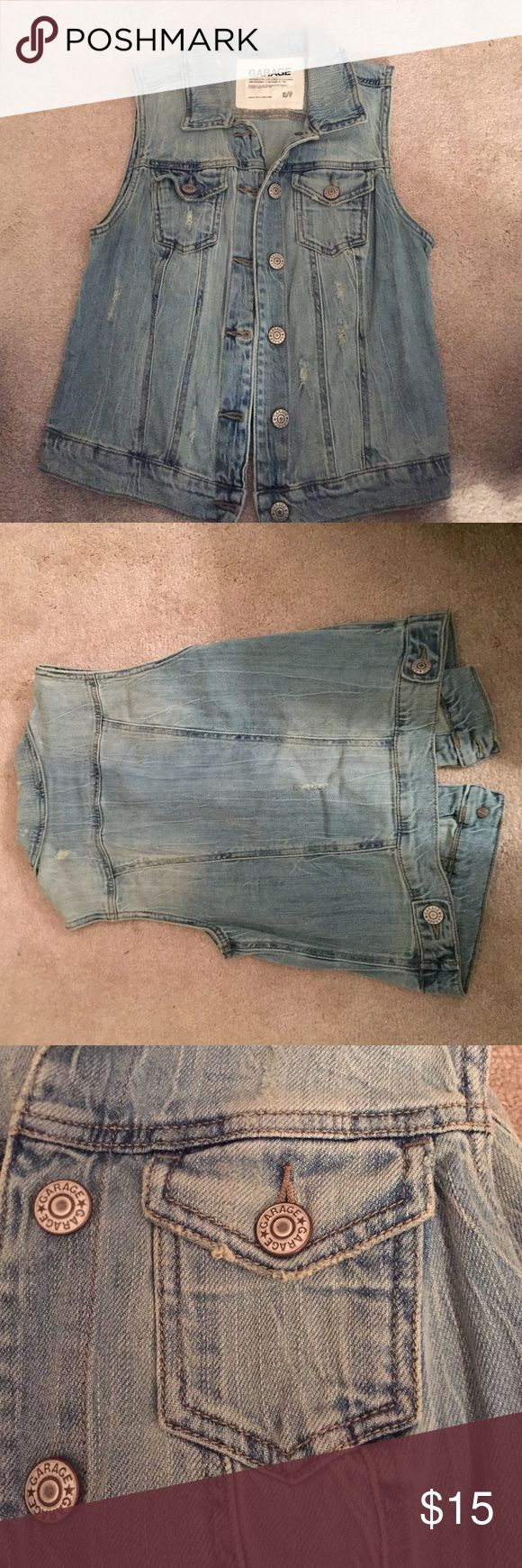 Garage Sleeveless Denim Jacket Good as new gorgeous denim jacket! Can be worn over anything! Has only been worn a few times. Garage Jackets & Coats Vests