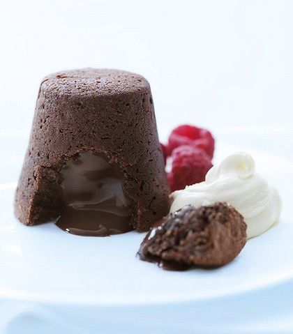 fuss free chocolate fondants - made these...sooo yummy and easy to make too - also, you can make them ahead of time and keep them in the fridge a few days....i served them with homemade vanilla ice cream and a raspberry syrup...will definitely make again :)