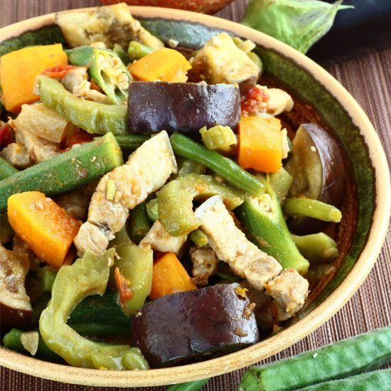 Pinakbet or Pakbet, a Filipino vegetable dish that is flavorful as it is colorful.
