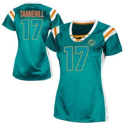 Ryan Tannehill Miami Dolphins Womens Draft Him Shimmer V-Neck T-Shirt - Aqua