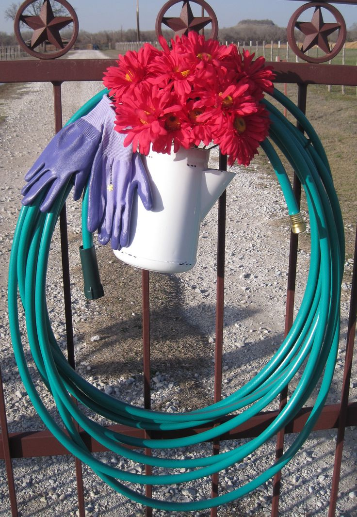 water hose wreath on my entry gate