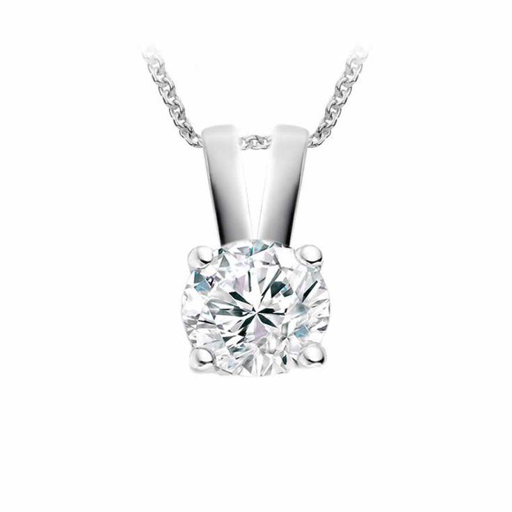 Classic Solitaire Diamond Pendant in 9K White Gold (0.15ct. tw.) | The Diamond Channel, Johannesburg