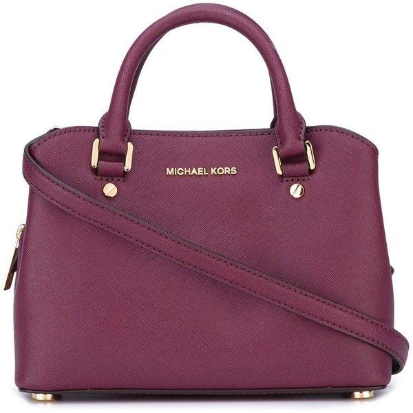 Michael Michael Kors Savannah Bag With Charm ($171) ❤ liked on Polyvore featuring bags, handbags, tote bags, violet, plum purses, purple tote bags, michael michael kors handbags, michael michael kors purse and michael michael kors