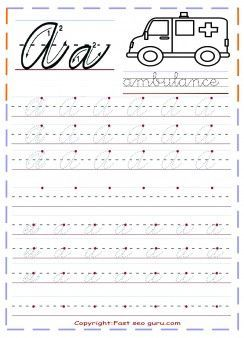 Printable cursive handwriting practice sheets letter a for kindergarten.free cursive tracing handwriting practice sheets for preschool.free writing practice worksheets for 1st graders,cursive learning upper and lowercase letters worksheets for kids