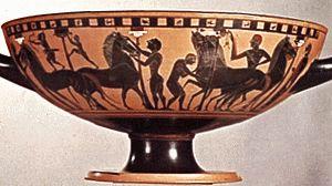 jarrón que representa la Iliada de Homero en la antigua Grecia