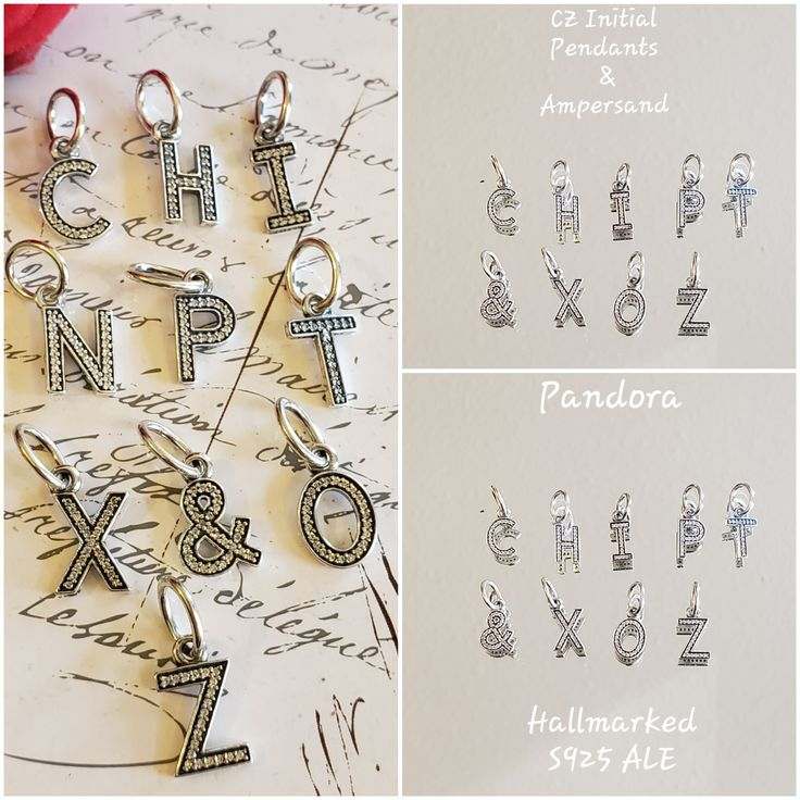 Authentic Pandora Letter Dangle Charms Cubic Zirconia