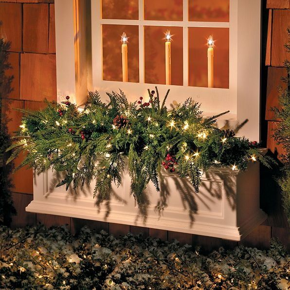 Warm Your Windowsill During The Holiday Season With Our 3 1 2 Lighted Natura Outside Christmas Decorations Christmas Window Boxes Christmas Window Decorations
