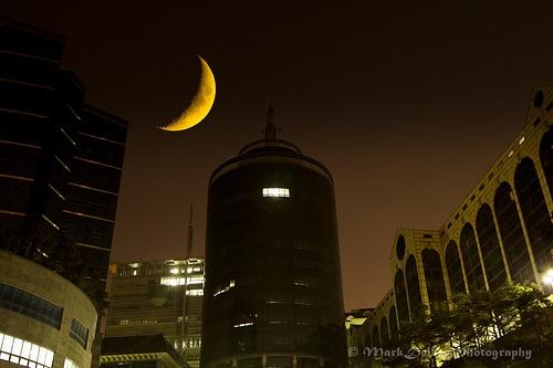 Crescent Moon over SeokYeong University, Seoul Korea