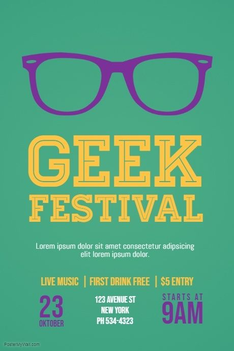geek nerd event flyer template event poster templates pinterest