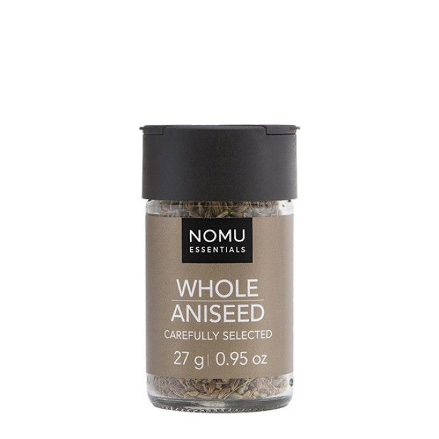 NOMU Single Spices - Whole Aniseed: An aromatic spice, Aniseed can be used in both sweet and savoury dishes to add a flavour with a difference. It is a great base flavour for soups, sauces, breads and confectionary.