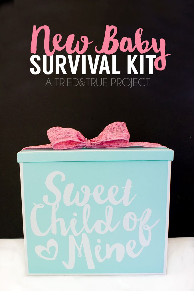 Need a practical and cute gift to welcome a new baby? This New Baby Survival Kit can be customized to fit any need!