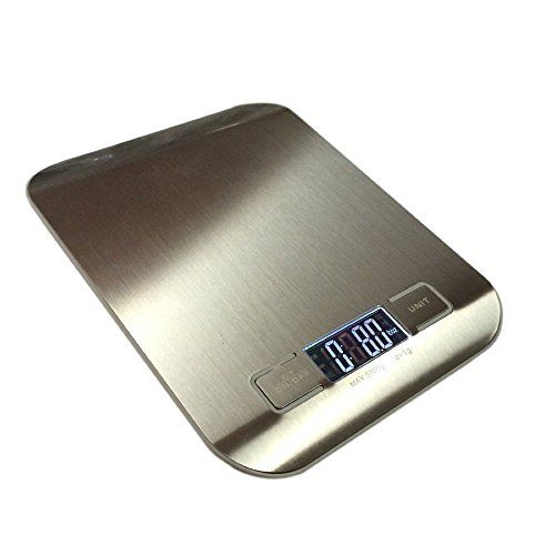 Stainless Steel Digital Kitchen Weight Scale BY HUB – 11lb/5kg Professional Flat Accurate Food Weighing Scale with Electronic display #Stainless #Steel #Digital #Kitchen #Weight #Scale #lb/kg #Professional #Flat #Accurate #Food #Weighing #with #Electronic #display