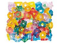 Kralenringen Maak een kleurrijke halsketting van deze transparante kralen in diverse vormen. Ook geschikt voor lichttafels. Set bestaat uit 113 gram gekleurde ringen.