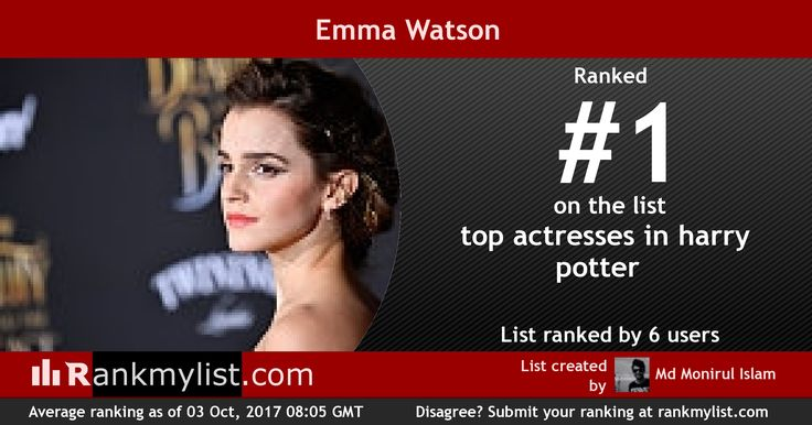 Is Emma Watson the best actress in the Harry Potter movies? Rank the list and make your opinion count!