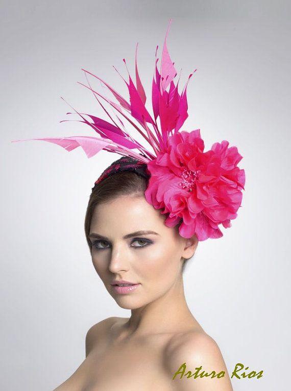 Hot Pink fascinator Headpiece by ArturoRios on Etsy, $189.00