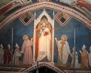 28 best giotto werke assisi nikolauskapelle la capella di san giotto di bondone 1267 1337 widmungsszene jesus der erlser links hl franziskus kardinal napoleone orsini stifter und 3 kardinle rechts hl fandeluxe Images