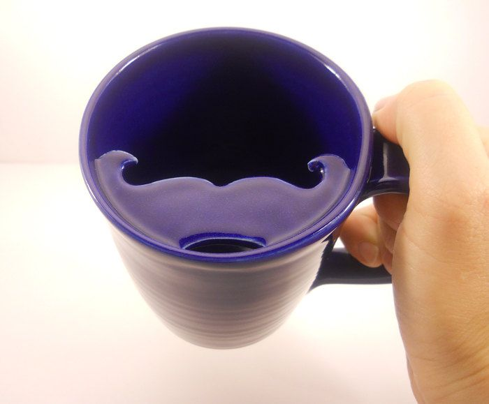 Mustache Mug, Cobalt Blue Cup - Handlebar Mustache. $25.00, via Etsy. My great grandmother gave me a tea cup that she owned that the same mustache shape on the lid of the cup that was from the 1800's.. They made them that way to keep the actual handlebar mustaches which were in fashion dry when men drank their tea.. Haha