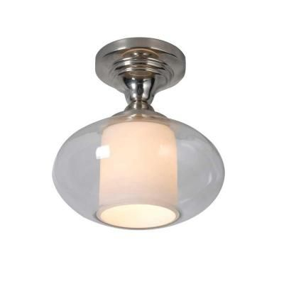kitchen lighting fixtures home depot hampton bay 1 light chrome dumant glass semi flush mount 8332