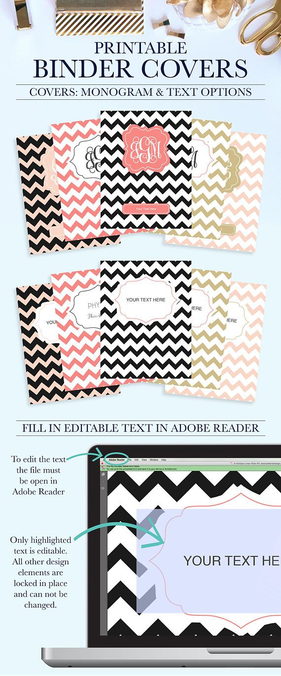 Set of 5 Printable Binder Covers for School, Home, or Work (Pink, Black, Gold Chevron, #BC1039-RT) Why settle for plain binders when you can turn your school binders, office binders, and work binders into an accessory that is uniquely you! Printable Binder Covers are a perfect way to
