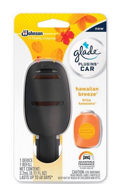 Glade 77467 Plugins Car Air Freshener, Hawaiian Breeze, 0.11 Oz