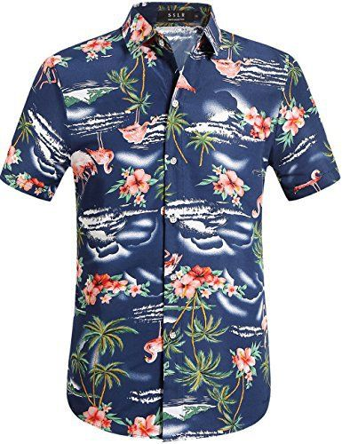SSLR Chemise Hawaienne Homme Casual Manche Courte Flamants Fleurs: Lavable en machine ou à la main Veuillez ne pas utiliser la mesure de de…