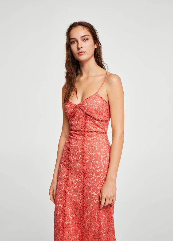 Guipure midi dress - Women   MANGO USA