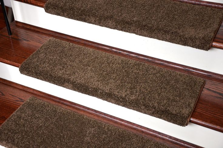 Dean Premium Pet Friendly Tape and Adhesive Free Non-Slip Bullnose Nylon Carpet Stair Treads - Satin Soft Chocolate (3) - Dean Stair Treads
