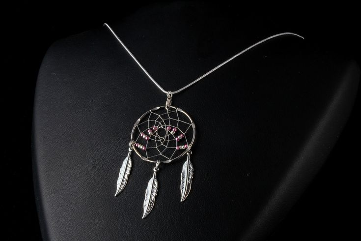 Silver dream catcher Necklace with pink and silver beads and 3 feathers, Native American inspired, boho, dream catcher jewelry, tribal by OriginalsByCathy on Etsy