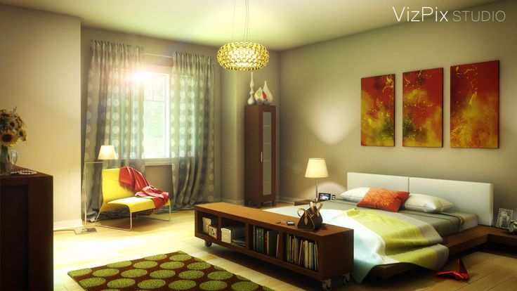 Modern bedroom rendered by VizPix Studio using 3ds Max.  http://www.vizpixstudio.com/