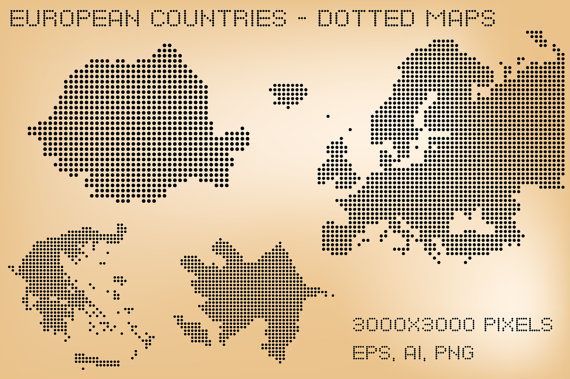 European countries - dotted maps  3000x3000 pixels  EPS, AI cs4 and transparent PNG  The font is Dots all for now and is used just in the preview.