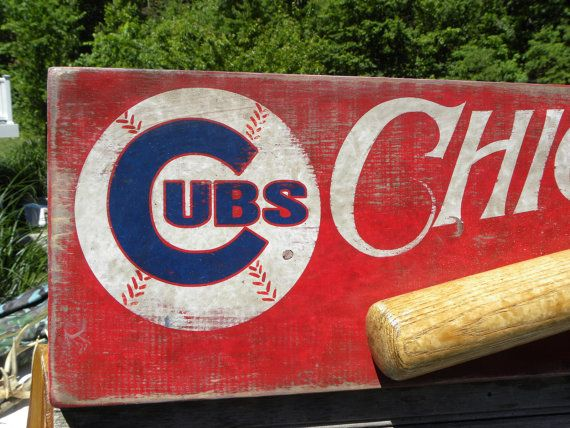 Chicago Cubs   baseball Sign , original, hand painted,sports decor , faux vintage, wooden  sign,