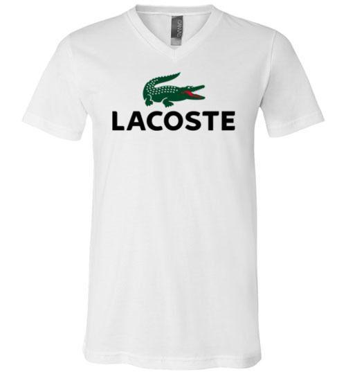 nice Lacoste Logo Unisex V-Neck T-Shirt