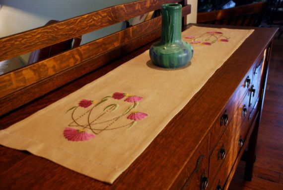 Hand Embroidered Silk Table Runner Arts and by paintbythread