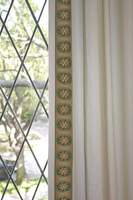 Love adding trim to linen panels!! This is always a winner and sets your home apart from others!! Worth the investment, after all you look at it every day!!
