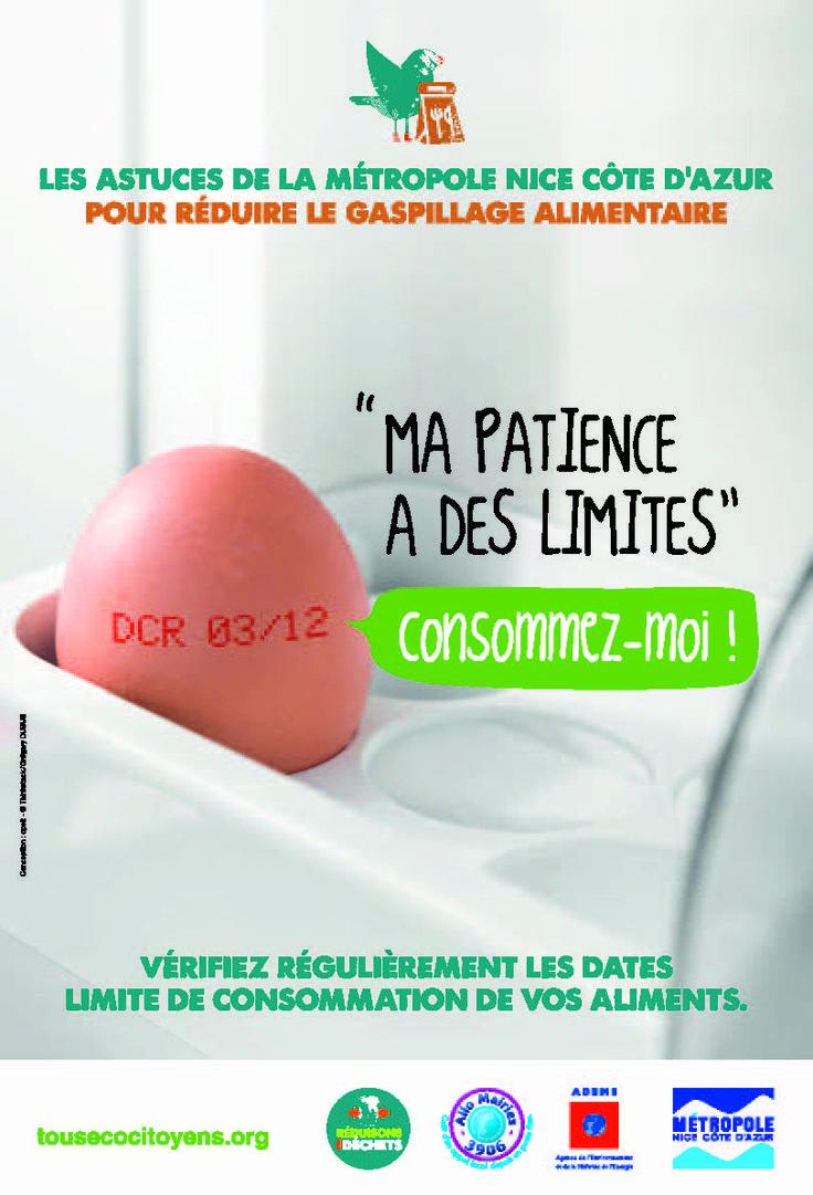 Campagne de sensibilisation au gaspillage alimentaire, novembre 2013. Client : métropole Nice Côte d'Azur.