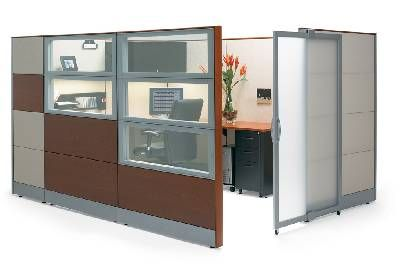 A great enclosed yet open cubicle design. Frosted windows create a nice semi-privacy wall when you need to buckle down and get work done! #office #cubicle #design