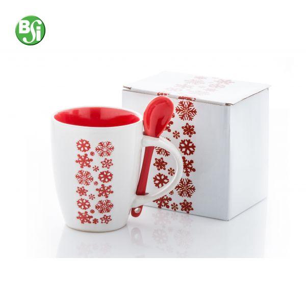 Tazza bianca in ceramica con cucchiaio, motivo a fiocco di neve, 300 ml. Confezione regalo in carta.  #tazza #mug #natale #christmas #natale #personalizzazione #bsigadget #gift #gadget